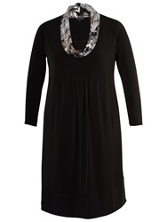 Chesca Printed Collar Knit Jersey Dress Black