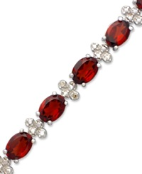 Macy's Sterling Silver Bracelet Garnet 17 Ct. T.W. Oval And Diamond Accent