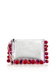 Sophia Webster Flossy Pompom Metallic Leather Clutch Silver Red