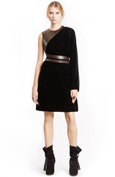 Lanvin One Shoulder Velour Dress Black