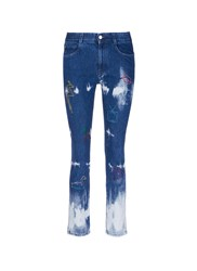Stella Mccartney Embroidered Acid Wash Skinny Boyfriend Jeans Blue