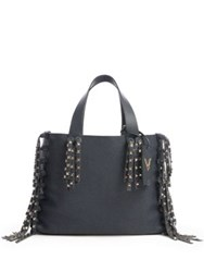 Valentino C Rockee Studded Fringed Leather Tote Black
