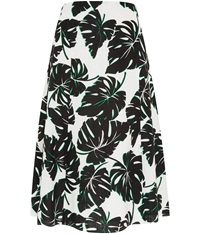 Cc Palm Printed Linen Skirt Natural