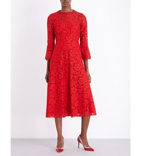 Valentino Bell Sleeve Floral Lace Midi Dress Red