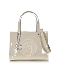 Armani Jeans Beige Patent Eco Leather Shopping Bag
