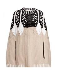 Peter Pilotto Geometric Intarsia Wool Blend Cape Beige