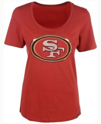 47 Brand '47 Women's San Francisco 49Ers Lux Sequins Scoop T Shirt Red