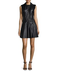 Nicole Miller Artelier Sleeveless Zipper Front Belted Leather Dress Black