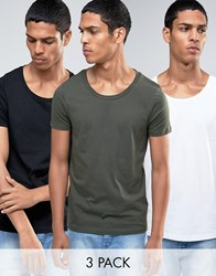 Asos 3 Pack T Shirt With Scoop Neck In White Black Green White Black Forest N Multi