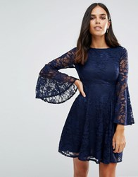 Jessica Wright Long Sleeve Lace Skater Dress Navy