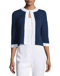 St. John Santana Contrast Trim 3 4 Sleeve Jacket Ink Blue White