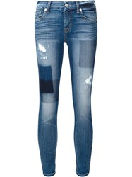 7 For All Mankind Patchwork Skinny Jeans Blue