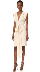Tome Short Deep V Dress With Belt Pale Pink