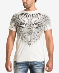 Affliction Men's Graphic Print T Shirt Dirty White