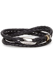 Paul Smith Black Braided Leather Wrap Bracelet