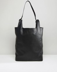 Asos Tote In Faux Leather Black
