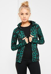 Missguided Active Green Long Sleeves Zip Up Sports Jacket Multi