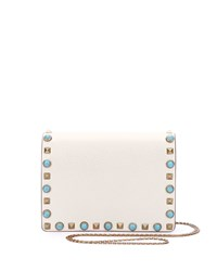 Valentino Rolling Rockstud Flap Pouch Bag Wallet On Chain White