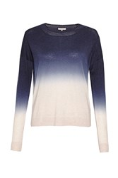 Great Plains Dip Dye Dora Pointelle Neck Jumper Blue