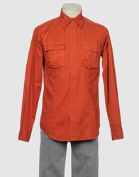 Napapijri Shirts Long Sleeve Shirts Men Rust