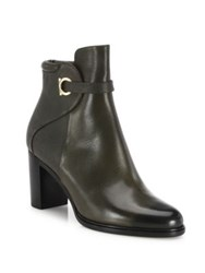 Salvatore Ferragamo Florian Leather Block Heel Booties Foret