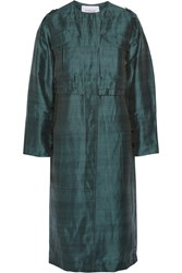 10 Crosby By Derek Lam Linen And Silk Blend Trench Coat Green