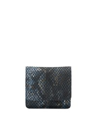Neiman Marcus Faux Leather Snake Embossed Manicure Set Blue Snake