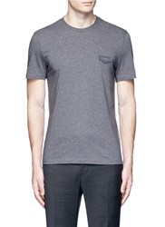 Givenchy Logo Leather Patch T Shirt Grey