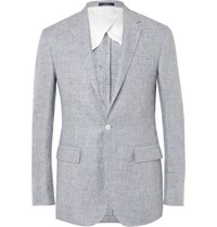 Polo Ralph Lauren Blue Morgan Slim Fit Puppytooth Linen Blazer Blue