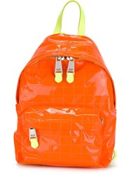 Moschino Check Pattern Backpack Yellow And Orange