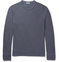James Perse Melange Loopback Supima Cotton Jersey Sweatshirt Blue