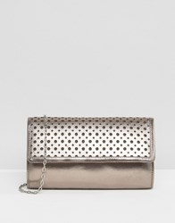 Lotus Cellini Perforated Detail Leather Clutch Bag Pewter Leather Grey