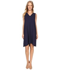 Lilla P Stretch Jersey V Neck Shift Peacoat Women's Dress Blue