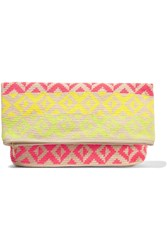 Sophie Anderson Abril Crocheted Cotton Clutch Nude