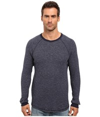 Lucky Brand Lived In Thermal Crew Heather Blue Men's Clothing