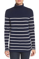 Halogenr Petite Women's Halogen Wool And Cashmere Funnel Neck Sweater Navy Ivory Stripe