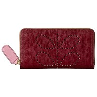 Orla Kiely Textured Leather Zip Wallet Berry