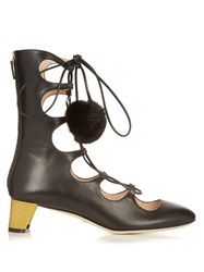Gucci Heloise Lace Up Leather Boots Black