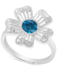 Victoria Townsend Blue Topaz 1 2 Ct.T.W. And Diamond 1 10 Ct. T.W. Flower Ring In Sterling Silver