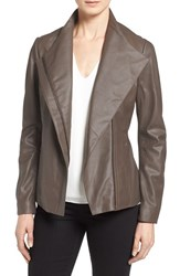 T Tahari Petite Women's 'Kelly' Leather Peplum Jacket Taupe