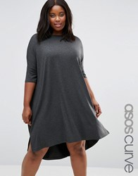 Asos Curve The T Shirt Dress With Curved Hem Charcoal Marl Grey