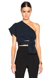 Tome Fwrd Exclusive Silk Crepe One Shoulder Top In Blue