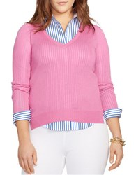 Lauren Ralph Lauren Plus V Neck Sweater Exotic Pink