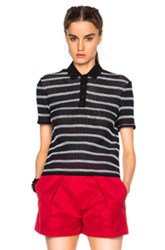 Msgm Knit Polo In Blue Stripes