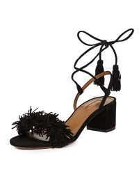 Aquazzura Wild Thing Fringe City Sandal Black