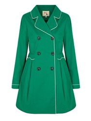 Yumi Trench Coat With Scallop Detail Green