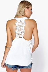 Boohoo Crochet Back Halter Swing Top Cream