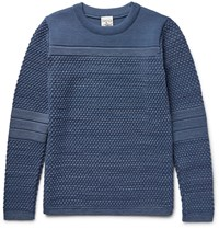 S.N.S. Herning Torso Textured Virgin And Merino Wool Blend Sweater Blue