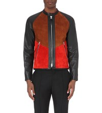 Coach Colour Block Suede And Leather Racer Jacket Cognac Red