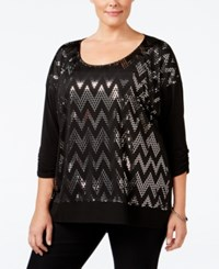 Ny Collection Plus Size Sequined Chevron Top Black Travol